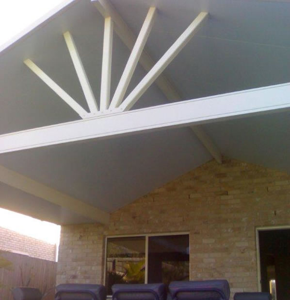 Gabled A-frame roofing for patio areas